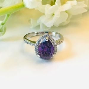 Teardrop Amethyst CZ Sterling Silver Ring